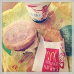 mcdonald's egg white mcmuffin, hash brown, and drink