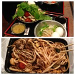 collage of raw ingredients and finished cooked product at mongolian grill