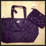 black coach bag with matching inner pouch