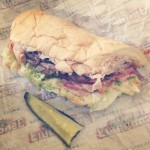 half of sub and dill pickle slice from firehouse subs