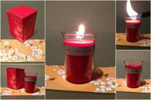 collage of red flower italian blood orange little flower candle included in the february-april spring 2013 yuzen box