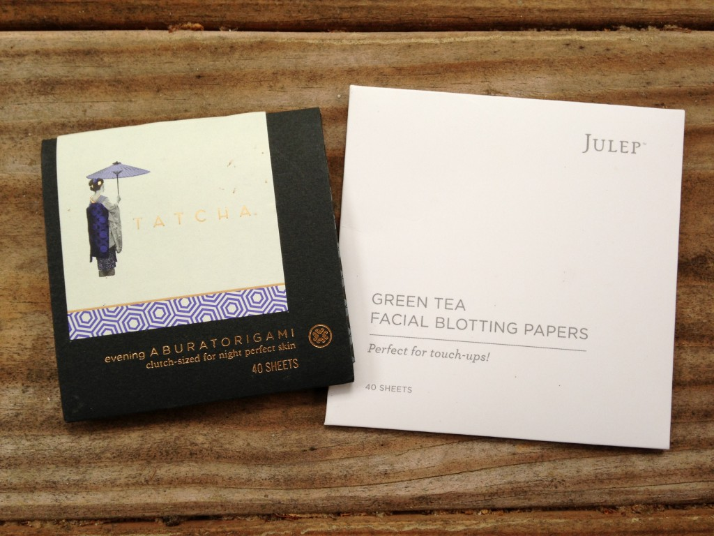 tatcha evening aburatorigami and julep green tea facial blotting papers