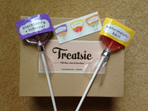 treatsie august box with this charming candy blackberry + hibiscus and watermelon~basil lollipops