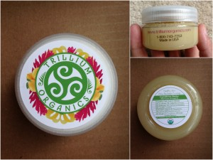 collage of trillium organics lemon ginger body polish
