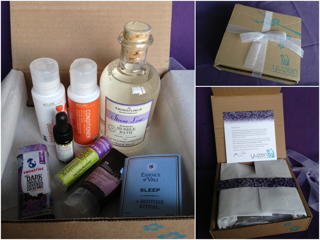 collage of unboxing of january 2013 yuzen box