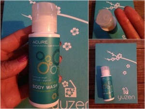 collage of acure cell stimulating body wash bottle with moroccan argan stem cell, argan oil, and sea buckthorn