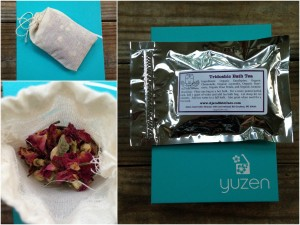 collage of ajara skincare ayurvedic beauty tridoshic bath tea bag sachet