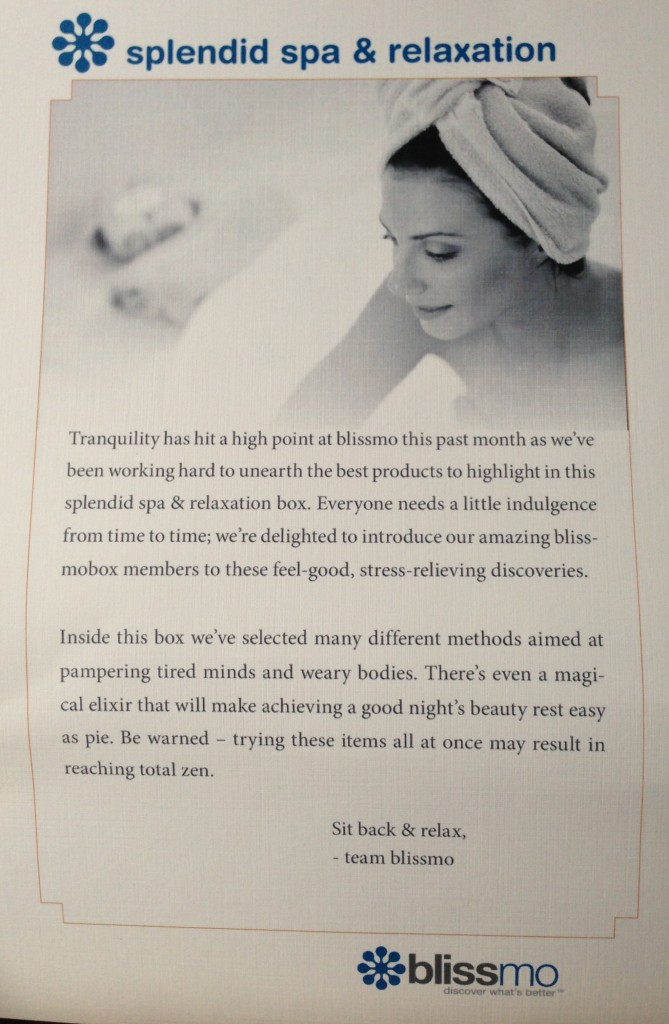 blissmobox splendid spa & relaxation info sheet