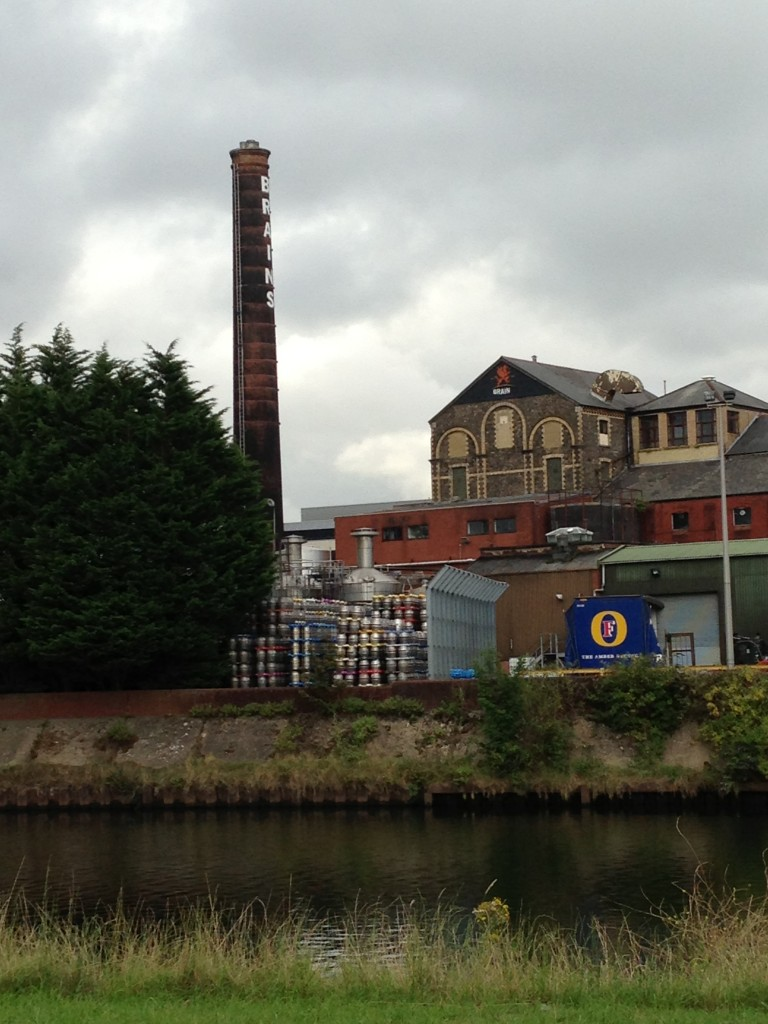 brains brewery across river with silver tanks and colorful tops