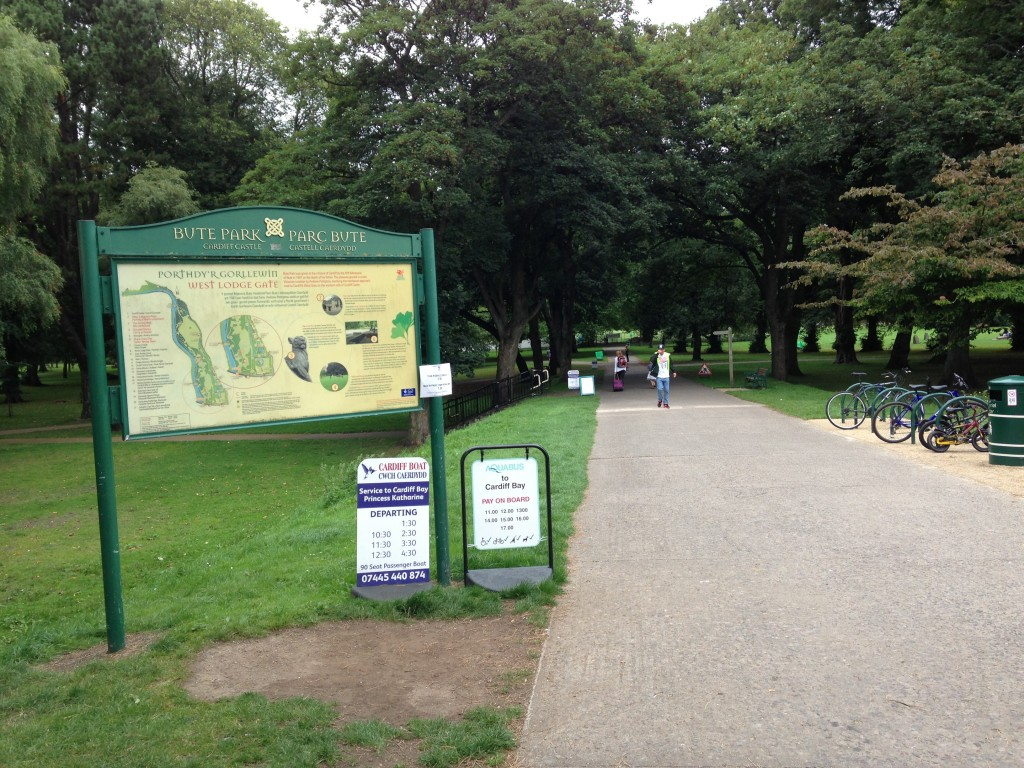 butte park entrance path with sign in cardiff