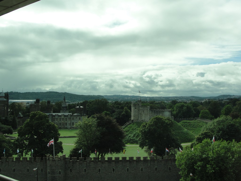 view of cardiff castle from nearby hotel