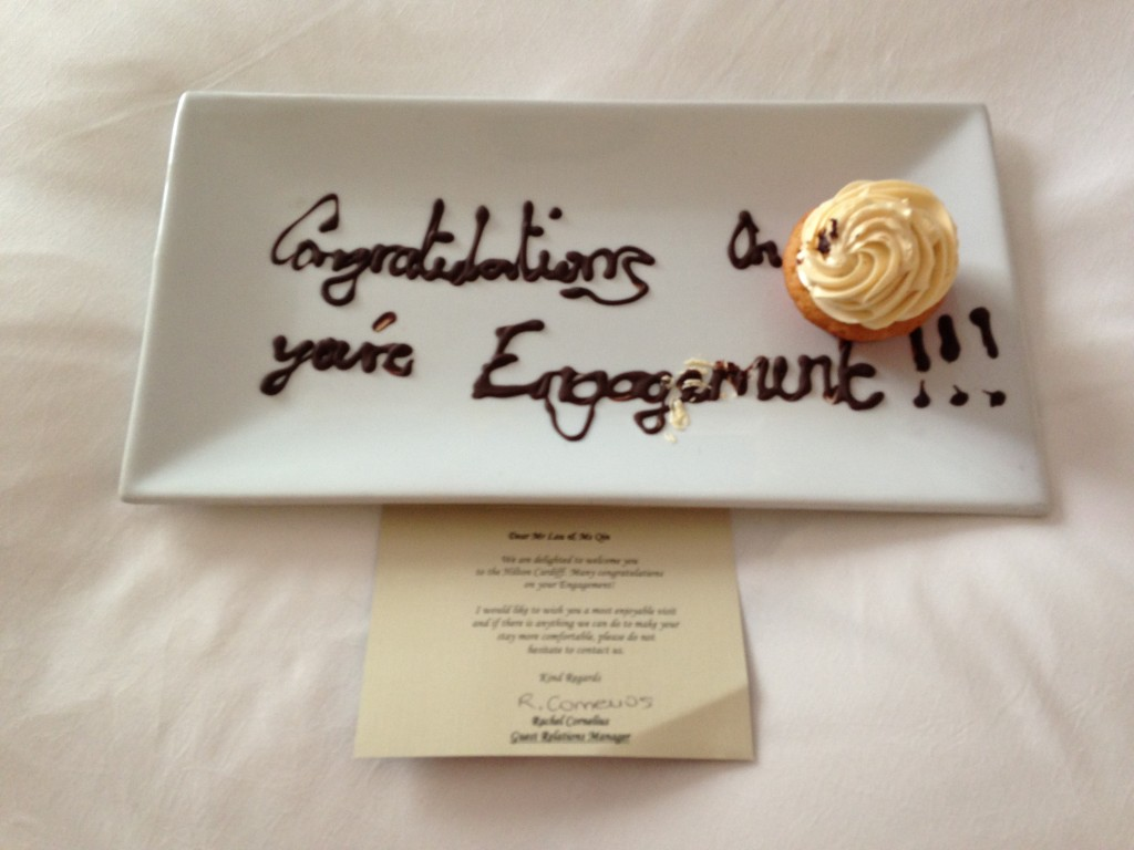 congratulations message written in chocolate on plate with vanilla buttercream cupcake