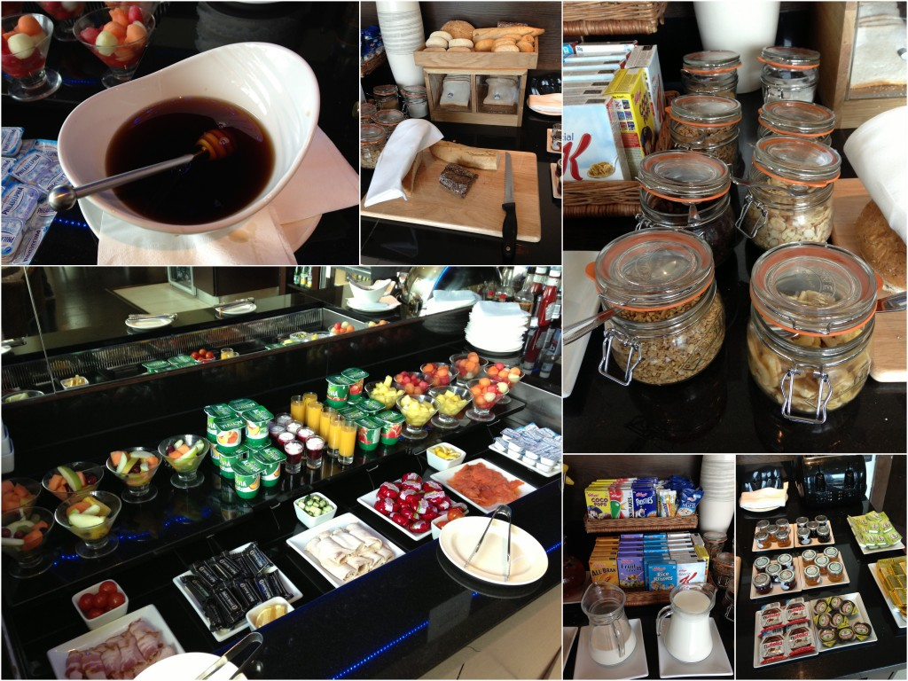 collage of breakfast items offered at executive lounge at hilton cardiff