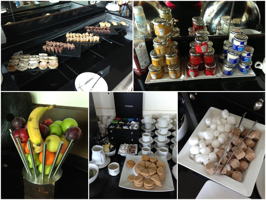 collage of executive lounge snacks including fruits, desserts, condiments, cookies, and sugar