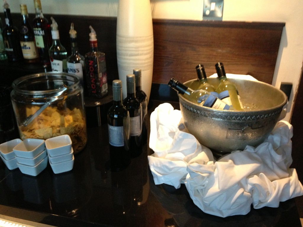 free bottles of wine in executive lounge of hotel