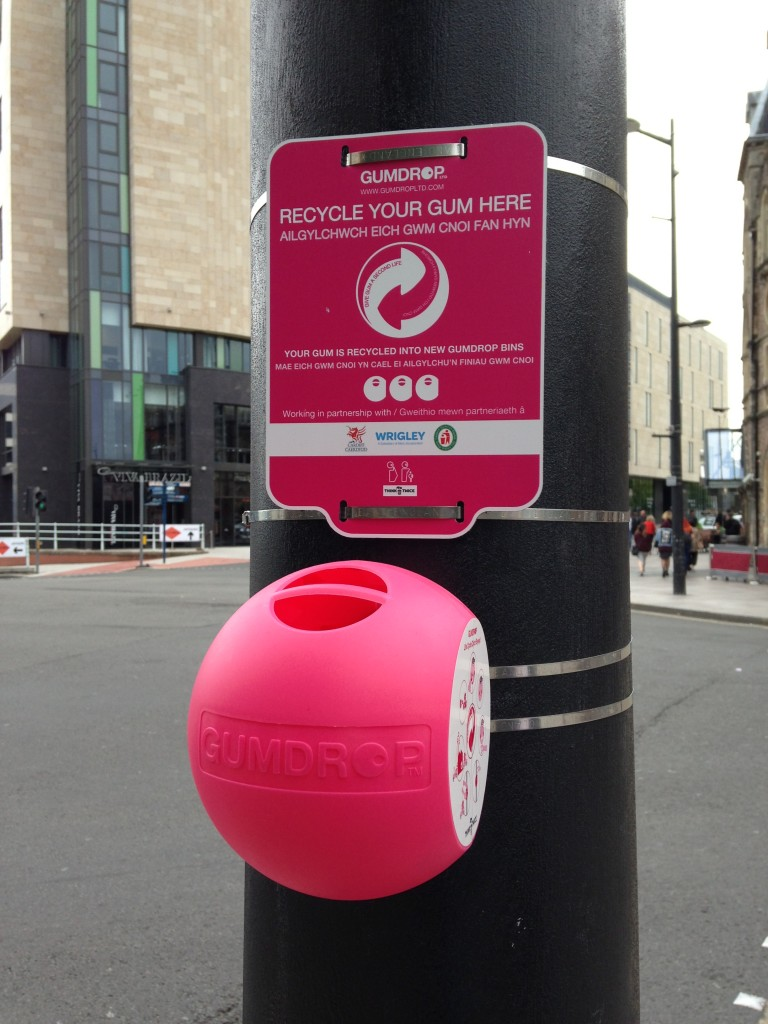 pink gumdrop station in cardiff for recycling gum