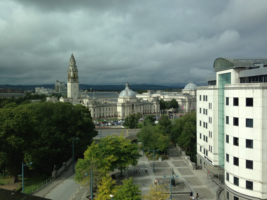 heavy cloud coverage over buildings in cardiff