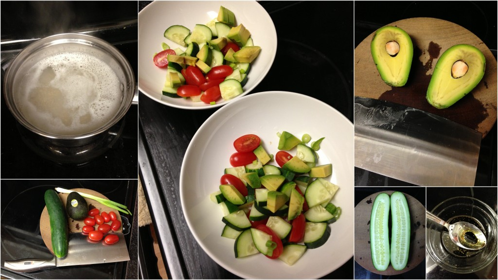 collage of hello fresh barley avocado salad ingredients and meal being made