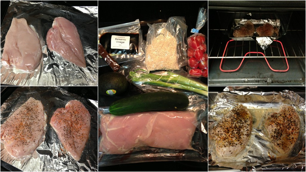 collage of hello fresh chili rubbed chicken ingredients and meal being cooked