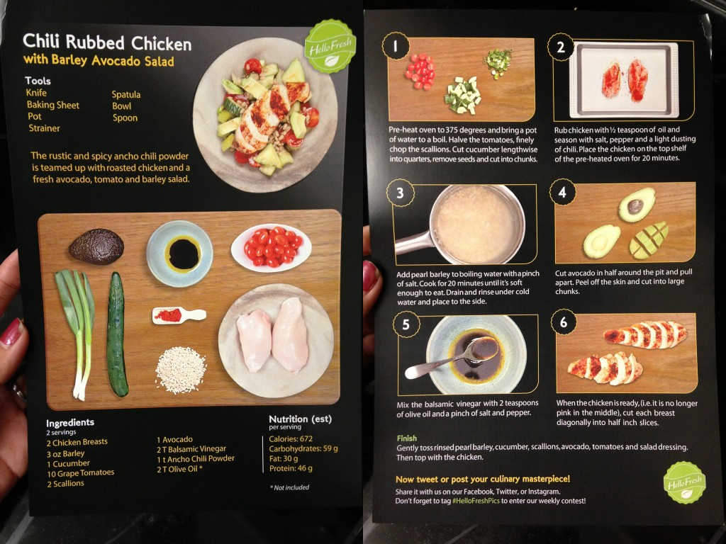 collage of hello fresh chili rubbed chicken with barley avocado salad recipe card