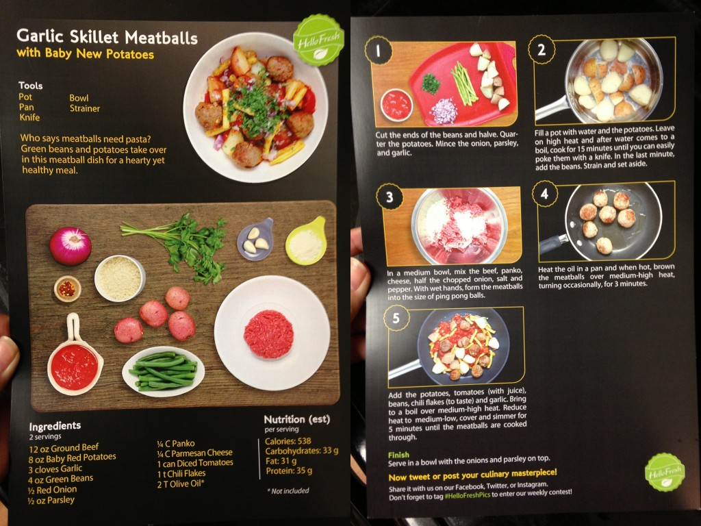 collage of hello fresh garlic skillet meatballs and new potatoes recipe card