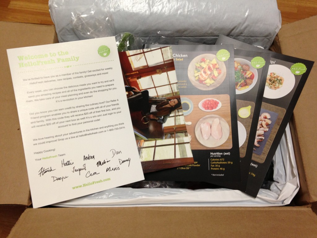 hello fresh welcome letter and large black recipe cards