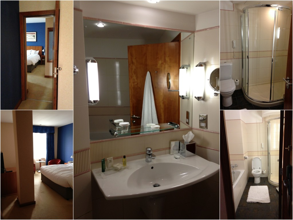 collage of room and bathroom at hilton cardiff