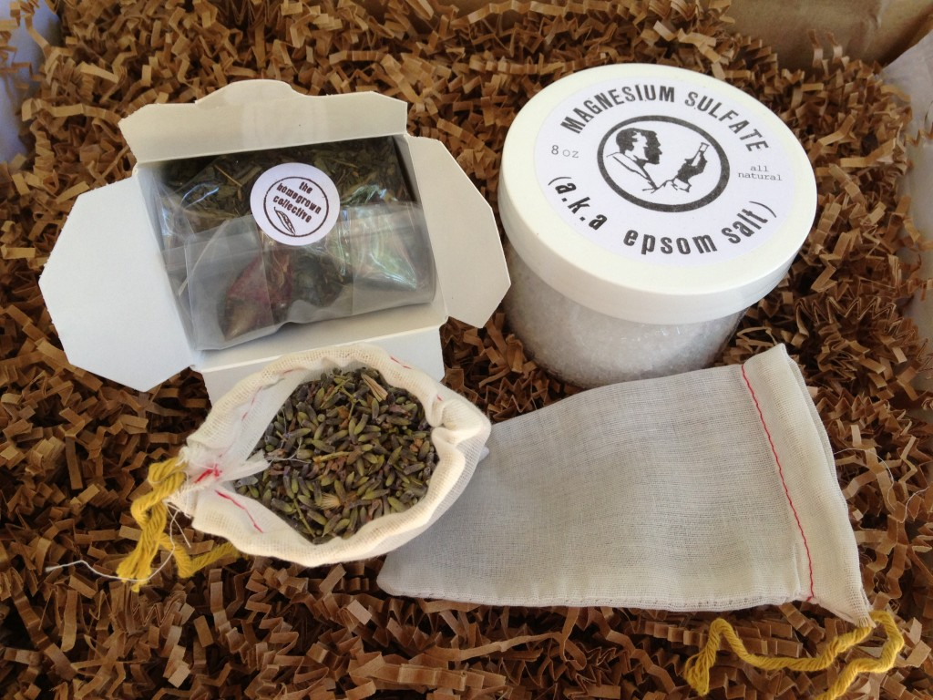 the homegrown collective august 2013 products for making green tea & lavender epsom salt bath soak