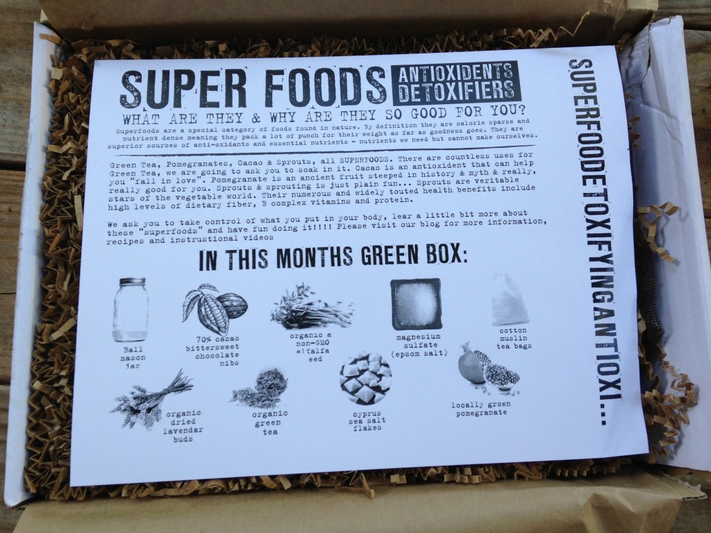 the homegrown collective august 2013 info sheet describing contents of box and benefits of super foods