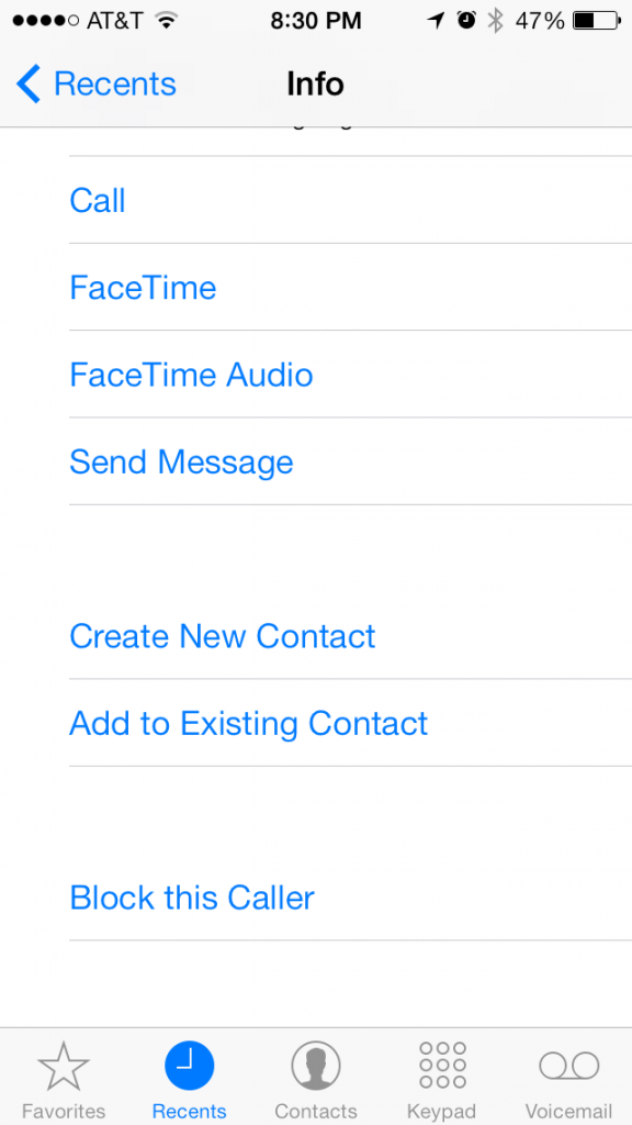 ios 7 block caller option