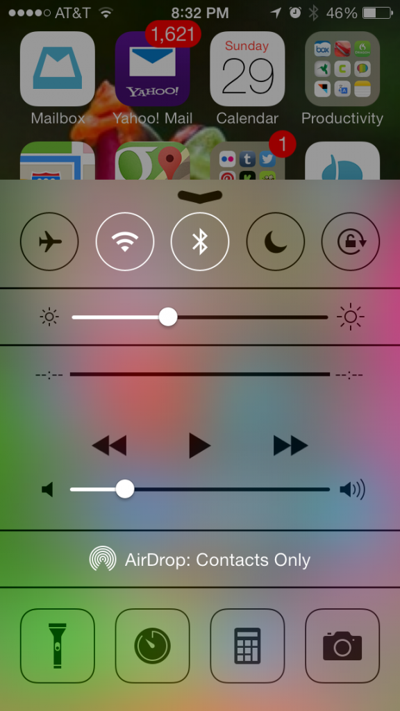 ios 7 new control panel feature