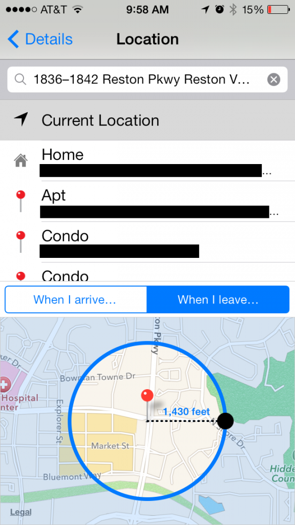 ios 7 geotargeted reminders feature with ability to change geofence radius