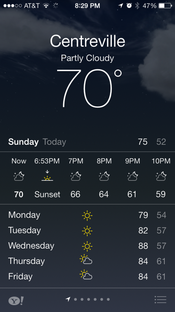 ios 7 weather app with sunset and sunrise indicators