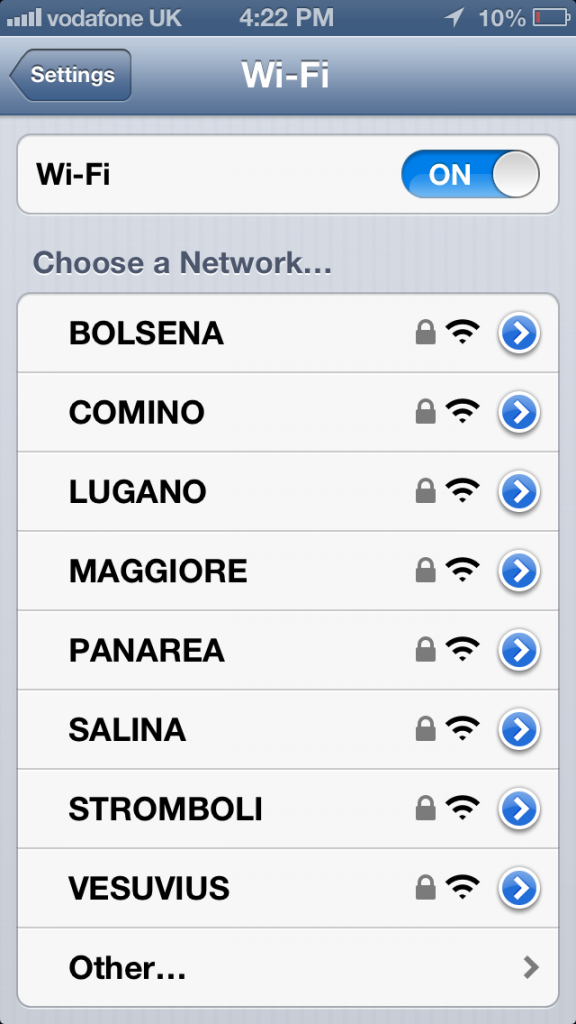wifi signals at cardiff train station with italian-inspired names