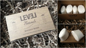 collage of level naturals shower bombs box of four included in valentine's 2013 blissmobox