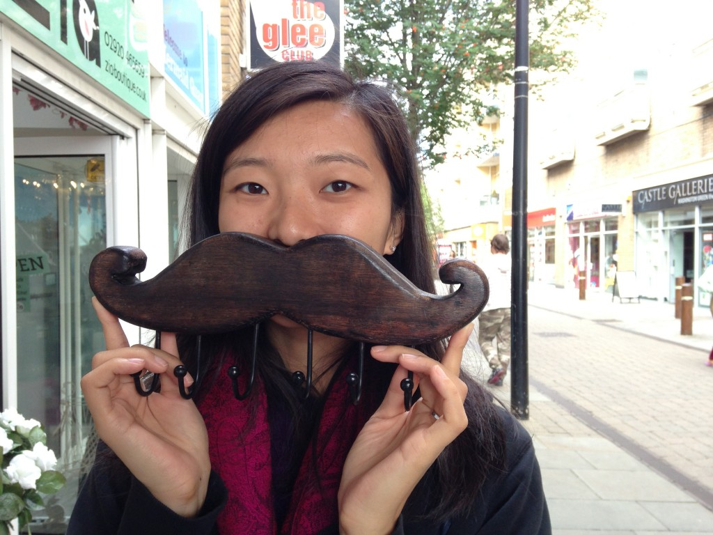 wooden moustache with set of six hooks