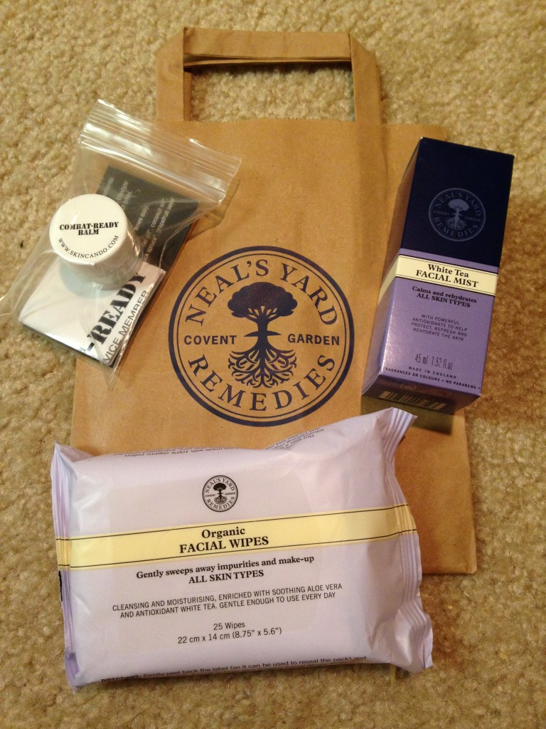 neal's yard remedies organic facial wipes, white tea facial mist, and skincando combat-ready balm bought from green festival dc 2013