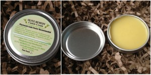 collage of olive remedy cuticle cream included in valentine's 2013 blissmobox