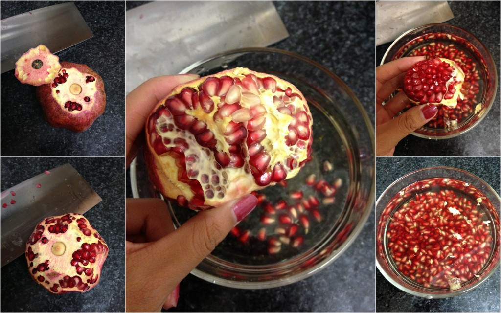 collage of steps to peel pomegranate from cutting skin to removing seeds and soaking in water