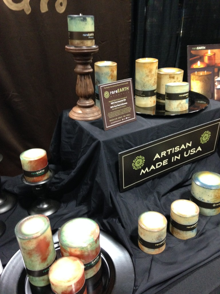 rareearth minieral-colored artisan candles made in usa display at green festival dc 2013