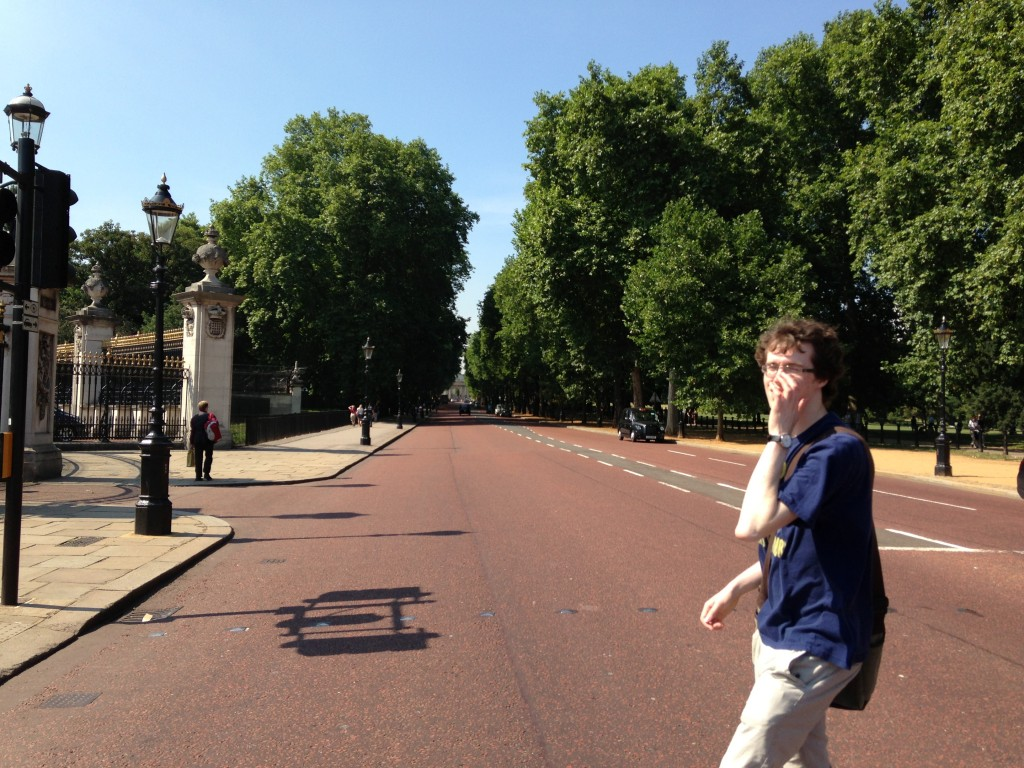 red street running along buckingham palace lined with trees photo bombed by pedestrian walking by