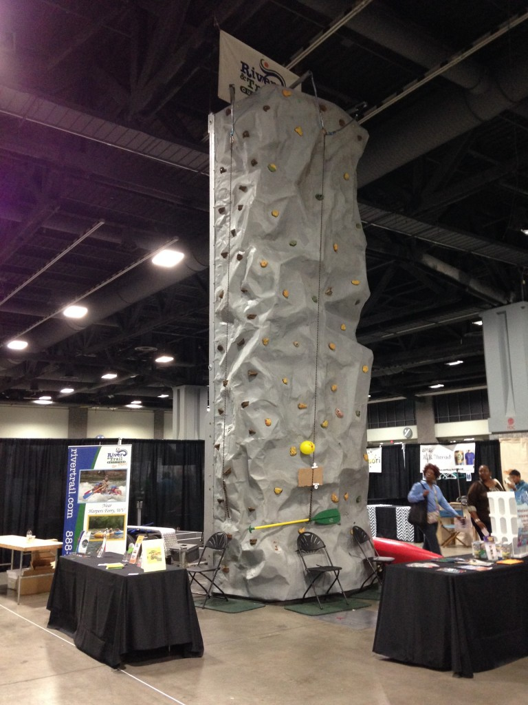 rock wall in middle of convention space at green festival dc 2013