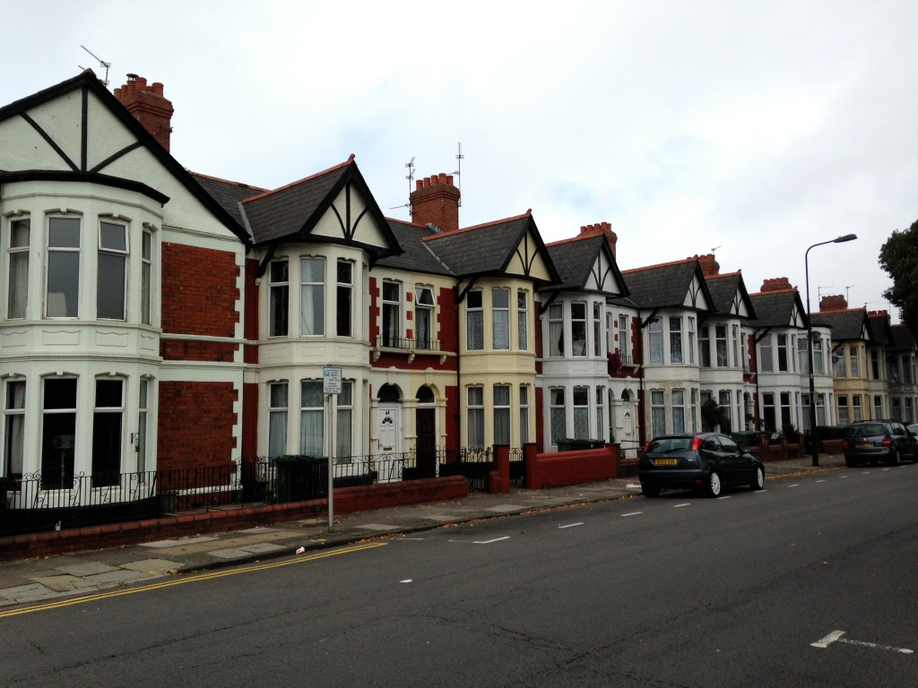 row of european houses in cardiff