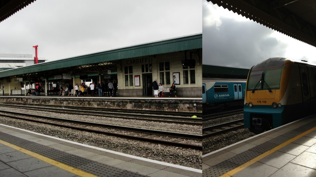 collage of cardiff train station and train arriving