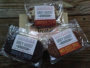 treatsie september box with grey ghost bakery cinnamon pecan, chocolate espresso, and molasses spice cookies