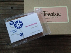 treatsie september box with morning glory confections chai tea & cashew artisan brittle