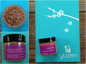 collage of verve organics soul sister lavender nut sugar scrub tub
