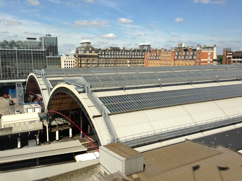 view of victoria station in london from nearby hotel