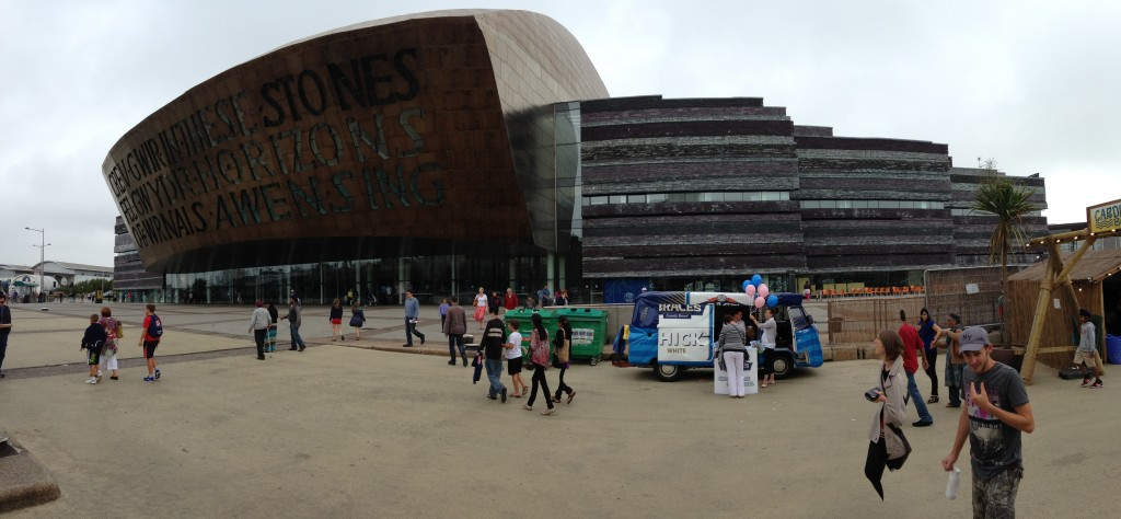panoramic of wales milliennium centre at mermaid quay cardiff bay