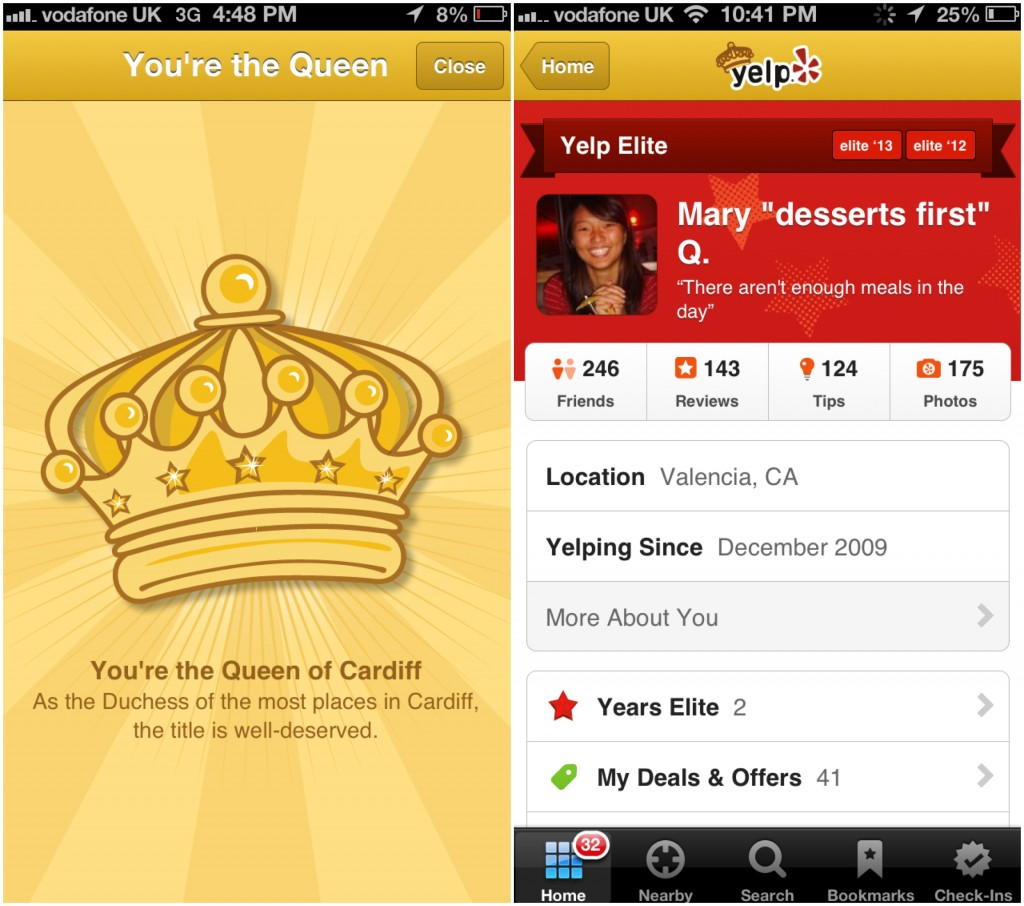 collage of yelp notice of queen status and new gold theme